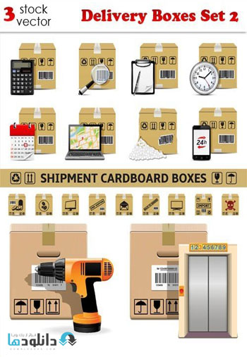 Delivery Boxes Set 2 Vector دانلود مجموعه وکتور Delivery Boxes Vector