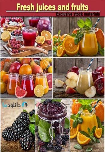 Fresh juices and fruits Stock دانلود مجموعه تصاویر شاتر استوک بنام Fresh juices and fruits Stock
