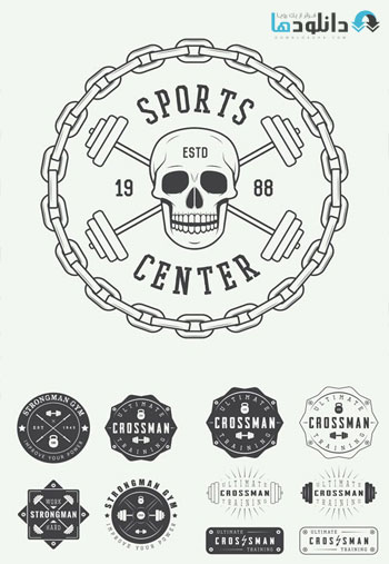 Gym-Logos-Labels-and-Badges-in-Vintage-Style