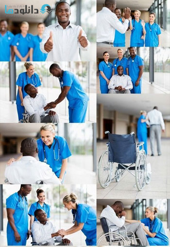 Health workers and disabled patient Stock دانلود مجموعه تصاویر شاتر استوک بنام Health workers and disabled patient Stock