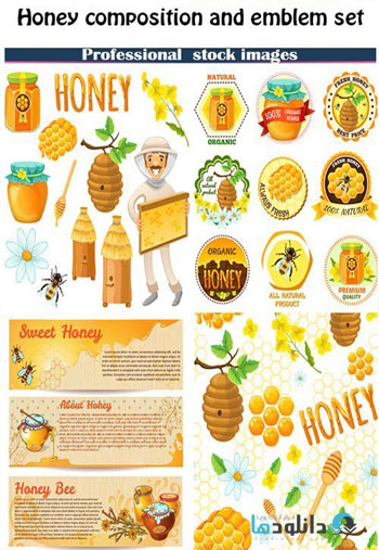 Honey composition and emblem set Vector دانلود مجموعه وکتور Honey composition and emblem Vector