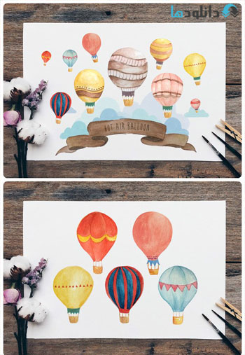 Hot Air Balloon Wall Art Bundle دانلود  تصاویر لایه باز Hot Air Balloon Wall Art