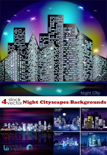 Night-Cityscapes-Backgrounds-Vector