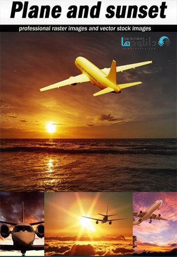 Plane-and-sunset-Stock