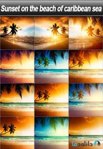 Sunset-on-the-beach-of-caribbean-sea-Stock