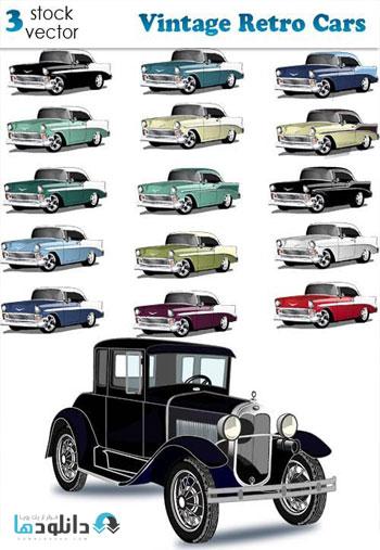 Vintage Retro Cars Vector دانلود مجموعه وکتور Vintage Retro Cars Vector