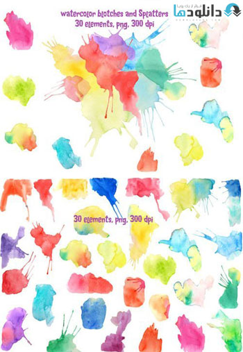 Watercolor-Blotches-and-Splatters
